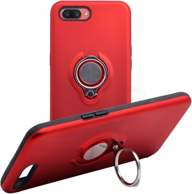 VAKIBO Back Cover for Oppo A3s, Realme C1, Ring Stand Back Cover- Dual Layer -Shock Proof - Strong Case(Red, Rugged Armor)