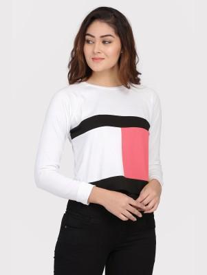 DUENITE Casual Full Sleeve Color Block Women White, Black, Pink Top