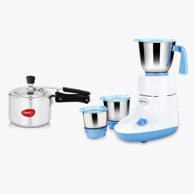 Pigeon Combo Glory 550 W Mixer Grinder with Pressure Cooker (3 Jars, White)