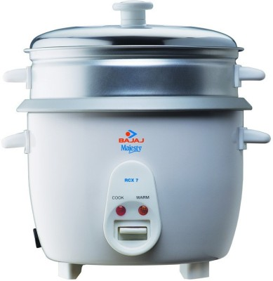 BAJAJ Majesty New RCX7 Electric Rice Cooker with Steaming Feature(1.8 L, White)