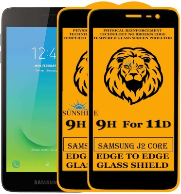 SUNSHINE Edge To Edge Tempered Glass for Samsung Galaxy J2 Core(Pack of 2)