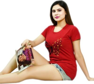 arnav sales Floral Print Women Round Neck Red T-Shirt