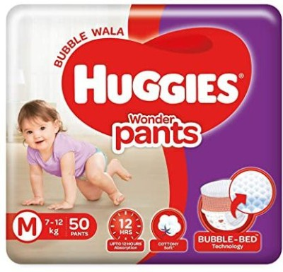 Huggies Wonder Bubble Pants, Medium Size Diapers  7   12 kg , 50 Pieces   M 50 Pieces Huggies Baby Diapers