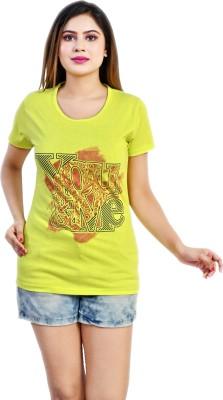arnav sales Printed, Self Design Women Round Neck Light Green T-Shirt