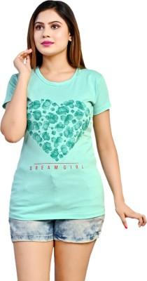 arnav sales Printed Women Round Neck Light Green T-Shirt