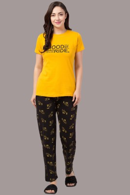 Funday Fashion Women Printed Yellow, Black Top & Pyjama Set
