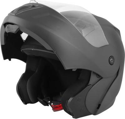 O2 PROX Full Face Flip Up with Scratch Resistant Clear Visor & Cross Ventilation Motorbike Helmet(Matte Black)