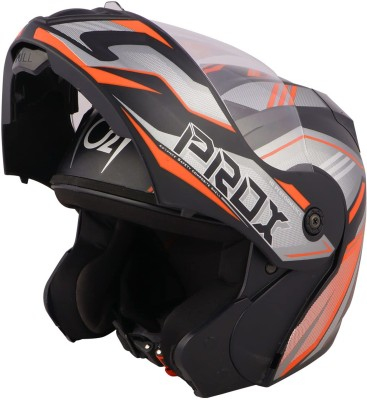O2 PROX Full Face Flip Up with Scratch Resistant Clear Visor & Cross Ventilation Motorbike Helmet(Multicolor)
