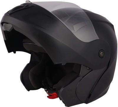 O2 PROX Full Face Flip Up with Scratch Resistant Clear Visor & Cross Ventilation Motorbike Helmet(Black)