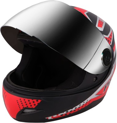 O2 Max Pro Full Face with Scratch Resistant Mercury Visor, Cross Ventilation Motorbike Helmet(Red)