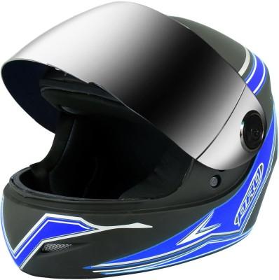O2 Max Pro Full Face with Scratch Resistant Mercury Visor, Cross Ventilation Motorbike Helmet(Blue)