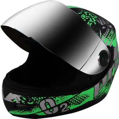 O2 Max Pro Full Face with Scratch Resistant Mercury Visor, Cross Ventilation Motorbike Helmet(Green)