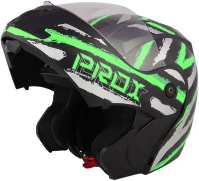 O2 PROX Full Face Flip Up with Scratch Resistant Clear Visor & Cross Ventilation Motorbike Helmet(Green)