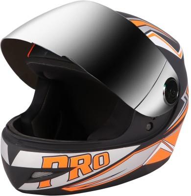 O2 Max Pro Full Face with Scratch Resistant Mercury Visor, Cross Ventilation Motorbike Helmet(Orange)