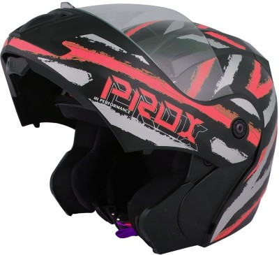 O2 PROX Full Face Flip Up with Scratch Resistant Clear Visor & Cross Ventilation Motorbike Helmet(Red)