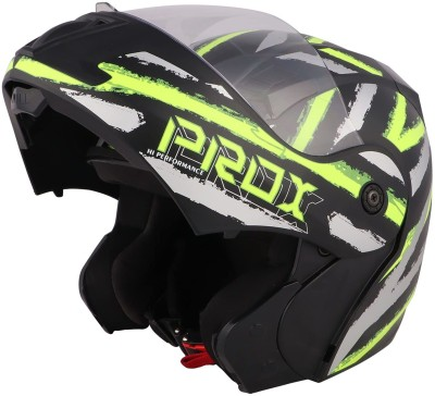 O2 PROX Full Face Flip Up with Scratch Resistant Clear Visor & Cross Ventilation Motorbike Helmet(Neon Green)