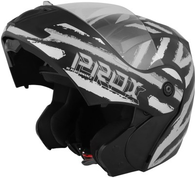 O2 PROX Full Face Flip Up with Scratch Resistant Clear Visor & Cross Ventilation Motorbike Helmet(Silver)