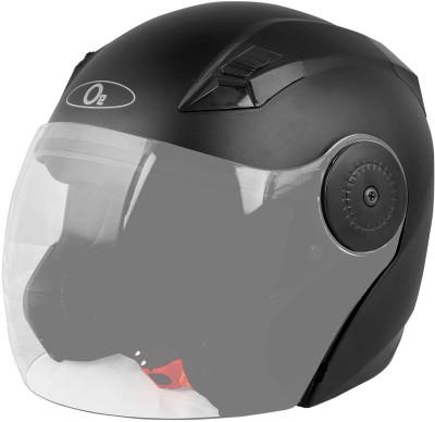 O2 PROX Open Face Helmet with Clear Scratch Resistant Visor & Adjustable Strap Motorbike Helmet(Black)