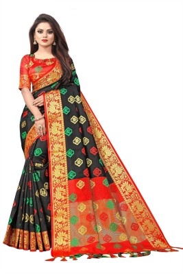 Toriox Woven, Embroidered, Checkered Kanjivaram Cotton Silk, Jacquard Saree(Black)