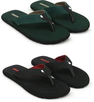 Footup Men's Light comfortable and stylish Multicolor Fabrication Slipper (Pack of 2) Combo Flip Flops