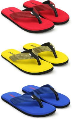 Footup Men's Light comfortable and stylish Multicolor Fabrication Slipper (Pack of 3) Combo Flip Flops
