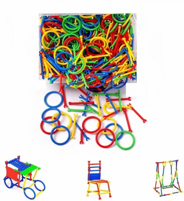 amg digital 180PCs Jumbo Pack Building Block Stick , Multi-coloured Construction Play Set for Kids, Different 3D Shapes for Educational Toy , 3D Puzzle Interlocking Creative Kit , Puzzle Game Set Build Houses, Buildings, Swings, Blocks Toy Perfect Gift for Kids(Multicolor)
