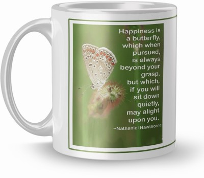THE NK Store Beautiful Happiness Butterfly Printed Colorful Coffee And Tea 320ml Multicolor (1716 ) Ceramic Coffee Mug(320 ml)