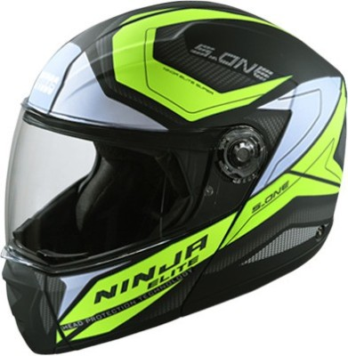 STUDDS NINJA ELITE SUPER HI-QUALITY D4 MATT BLACK N5 YELLOW FLIP-UP FACE 580 MM SIZE L Motorbike Helmet(MATT BLACK YELLOW)