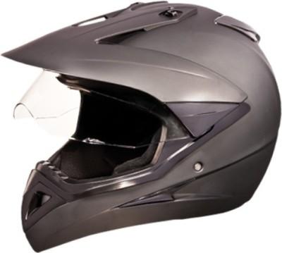 STUDDS MOTOCROSS WITH VISOR OFF ROAD SPORTS HELMET Motorbike Helmet(MATT BLACK)