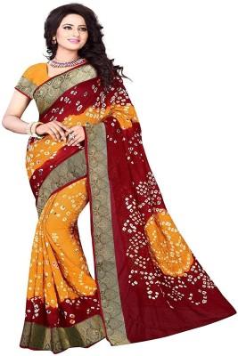 Ratnavati Geometric Print Bandhej Art Silk Saree(Yellow, Red)