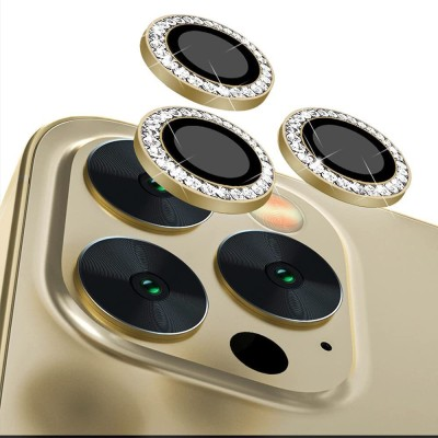 GARHIL RETAILERS Camera Lens Protector for iPhone 11/12/12 Mini Camera Lens Protector [PACK OF 2] 9H Hardness HD Tempered Camera Protector Glass, Screen Protector High Definition Anti-Scratch Full Coverage Camera Metal Ring Ultra-Thin/Clear– Gold Diamond(Pack of 2)