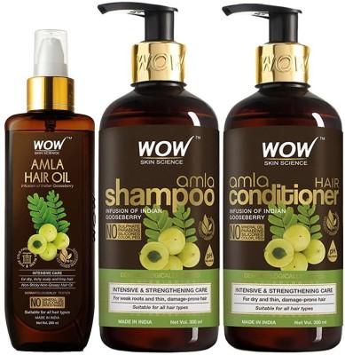 WOW SKIN SCIENCE Amla Hair Care Kit - consist of Amla Hair Oil, Amla Shampoo & Amla Conditioner - Net Vol 800mL(3 Items in the set)
