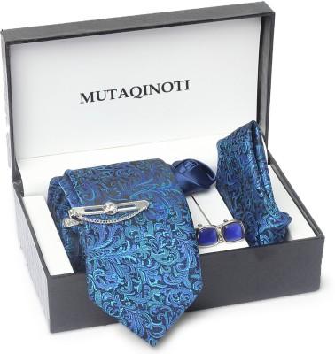 MUTAQINOTI Silk Tie & Cufflink(Turquoise)