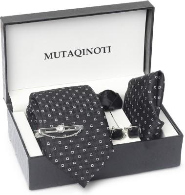 MUTAQINOTI Silk Tie & Cufflink(Black, Grey)
