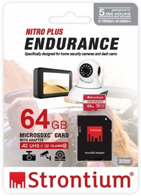 Strontium Nitro Plus Endurance A2 64 GB MicroSDXC Class 10 100 MB/s Memory Card(With Adapter)