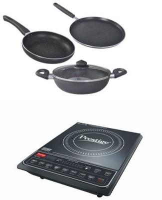 Prestige PIC 16 plus induction granite cookware set Induction Cooktop(Black, Push Button)