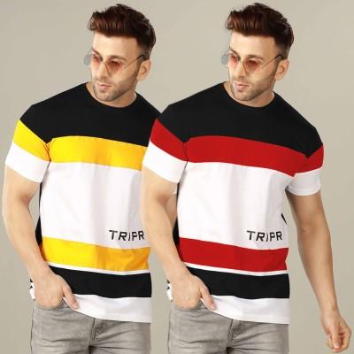 TRIPR Color Block Men Round Neck Multicolor T-Shirt(Pack of 2)