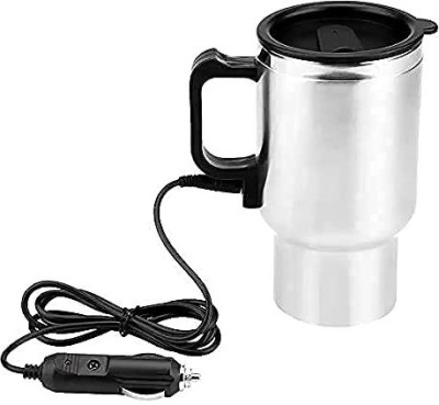 LVM 12V Car Charging Electric Kettle Stainless Steel Travel Coffee Cup Heated Thermos (Silver/Black-1pc) Stainless Steel Coffee Mug(450 ml)