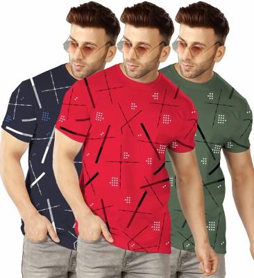 TRIPR Printed Men Round Neck Dark Blue, Red, Green T-Shirt(Pack of 3)