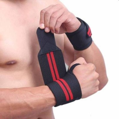 Miraaz Weight Lifting Training Gym Straps with Thumb Wrist Support Wrist Support (Black, Red) Men & Women(Black, Pack of 1)