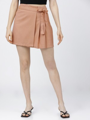 Tokyo Talkies Solid Women Flared Pink Skirt