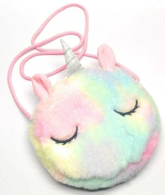 Kaushiki Enterprises Multicolor Sling Bag Unicorn theme cross body shoulder fur sling bag