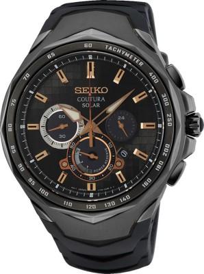Seiko SEIKO Coutura black dial PU Strap Solar power Men's Watch -SSC811P9 Analog Watch - For Men
