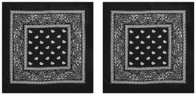 wastvik 100% Cotton printed Black hanky(handkerchief)Size 22x22inch pack of 2 pcs [