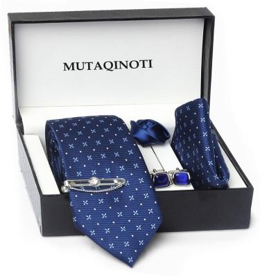 MUTAQINOTI Silk Tie & Cufflink(Blue)
