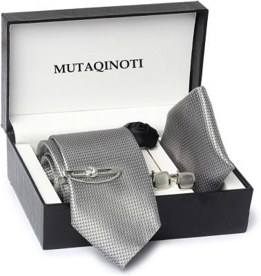 MUTAQINOTI Silk Tie & Cufflink(Grey)