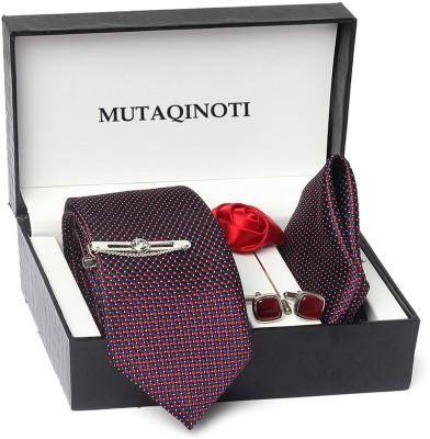 MUTAQINOTI Silk Tie & Cufflink(Maroon)