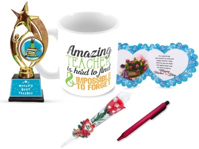 Tuelip Gift Set for Teacher for Teacher's Day Trophy with Greeting Card, Pen, Rose & Printed Tea & Coffee Ceramic Coffee Mug(350 ml, Pack of 5)
