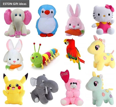 eston Budget Combo Of 12 (Elephant, Pikachu, Rabbit, Caterpillar, Unicorn, Kitty, Parrot and Balloon Teddy) Soft Toy | Birthday Gift for Girls/Wife, Boyfriend/Husband, Soft Toys Wedding/Anniversary Gift for Couple Special, Baby Toys Gift Items - 30 cm(Multicolor)