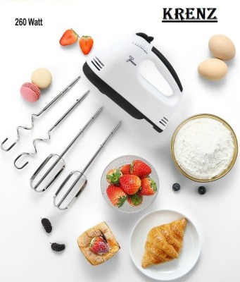 krenz 7-Speed Electric Hand Mixer / egg beater for Ice-cream, Cake Cream, Lassi, Butter Milk Maker with Stainless Steel Attachments...